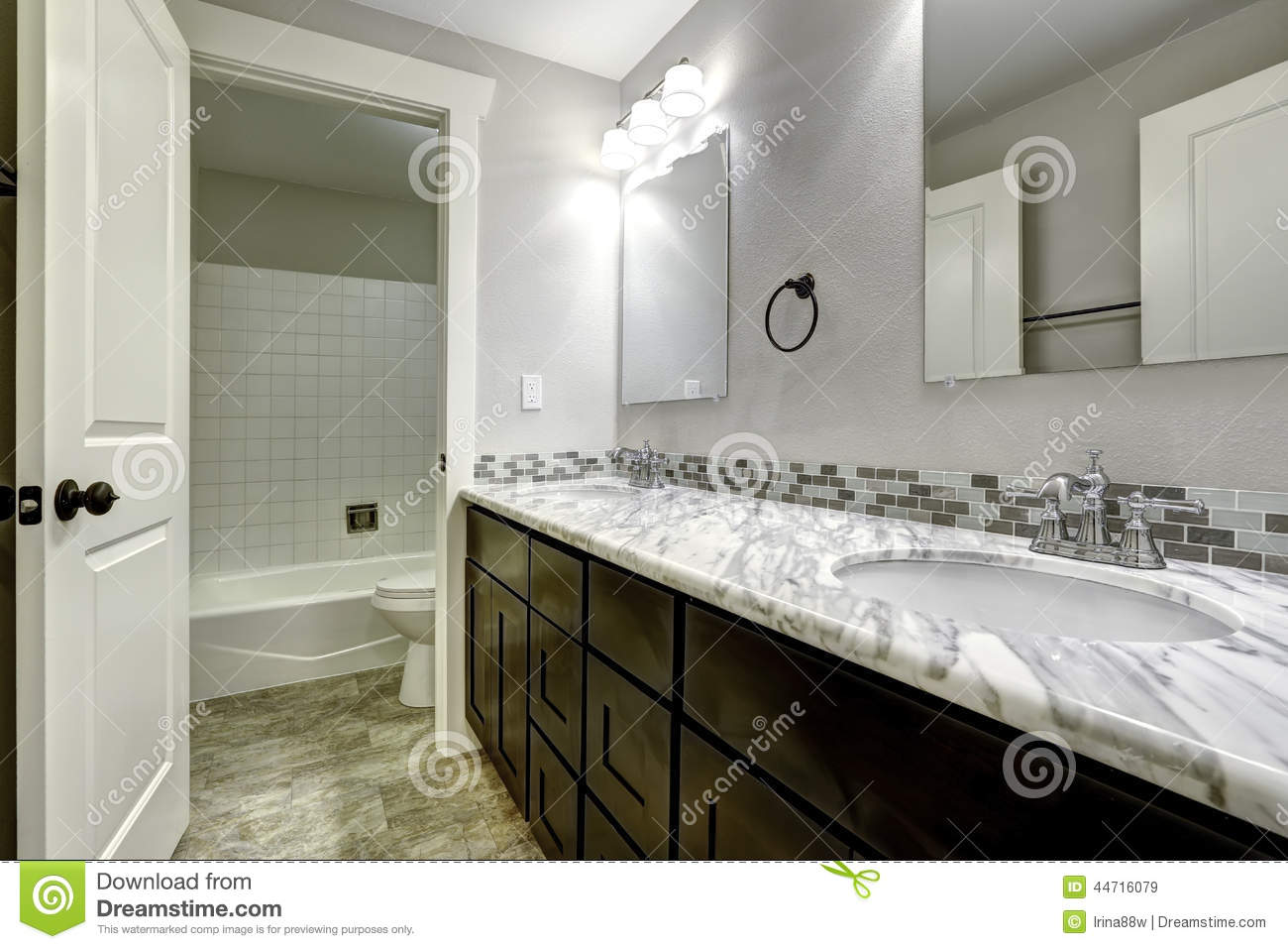 bathroom vanity cabinet with white granite top stock image - image