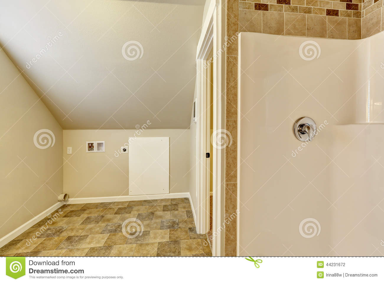 Bathroom With Vaulted Ceiling Empty Laundry Area Stock