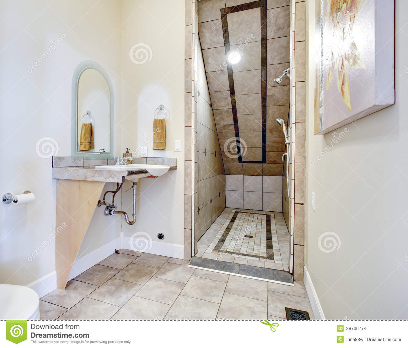Bathroom With Vaulted Ceiling Shower Area Stock Photo