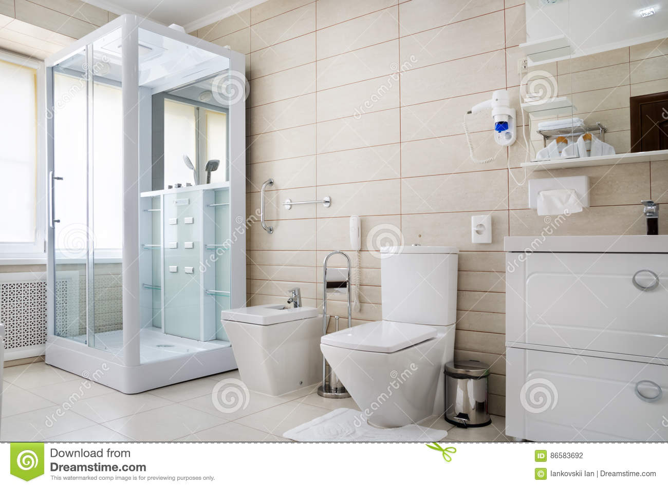 Bathroom In Warm Colors, With A Toilet, A Bathtub, A Hairdryer, A ...