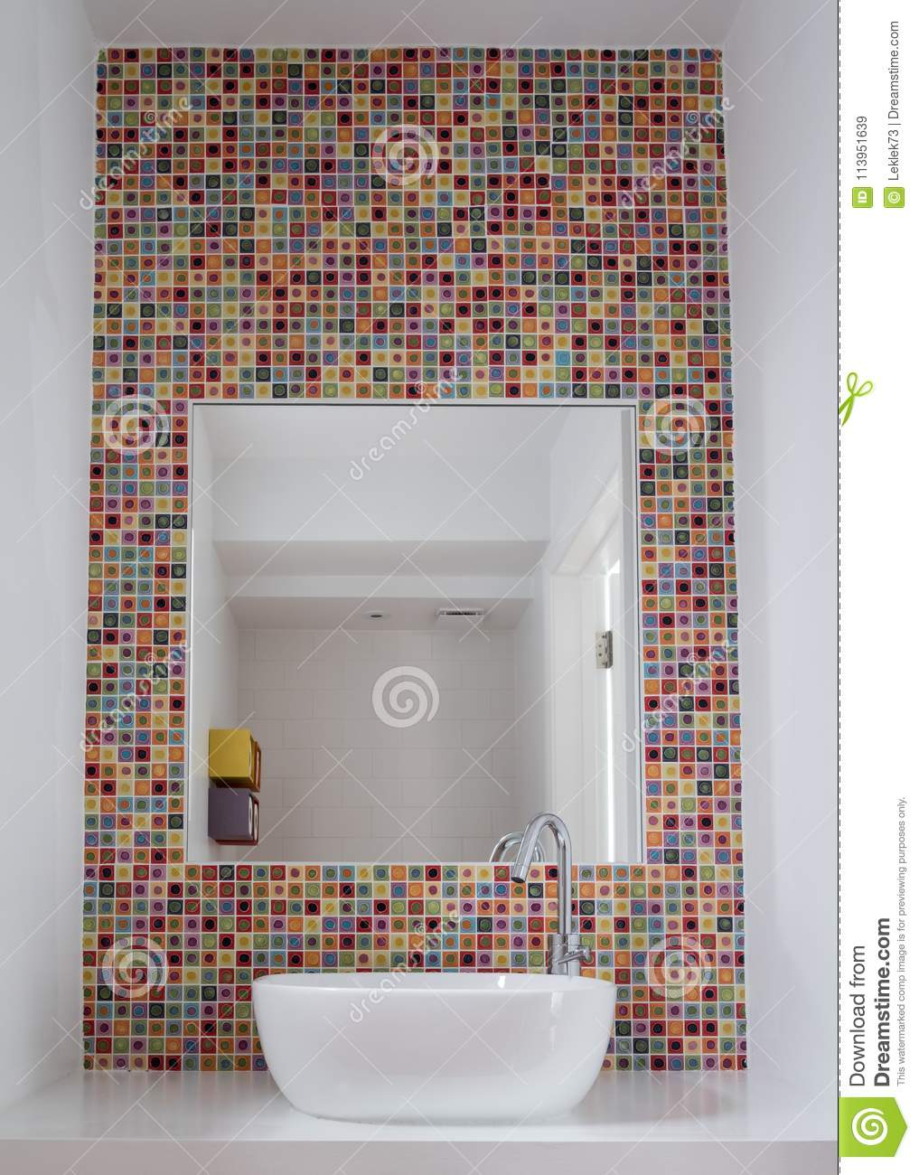 Bathroom Wash Basin With Colorful Glass Mosaic Tiles And Mirror
