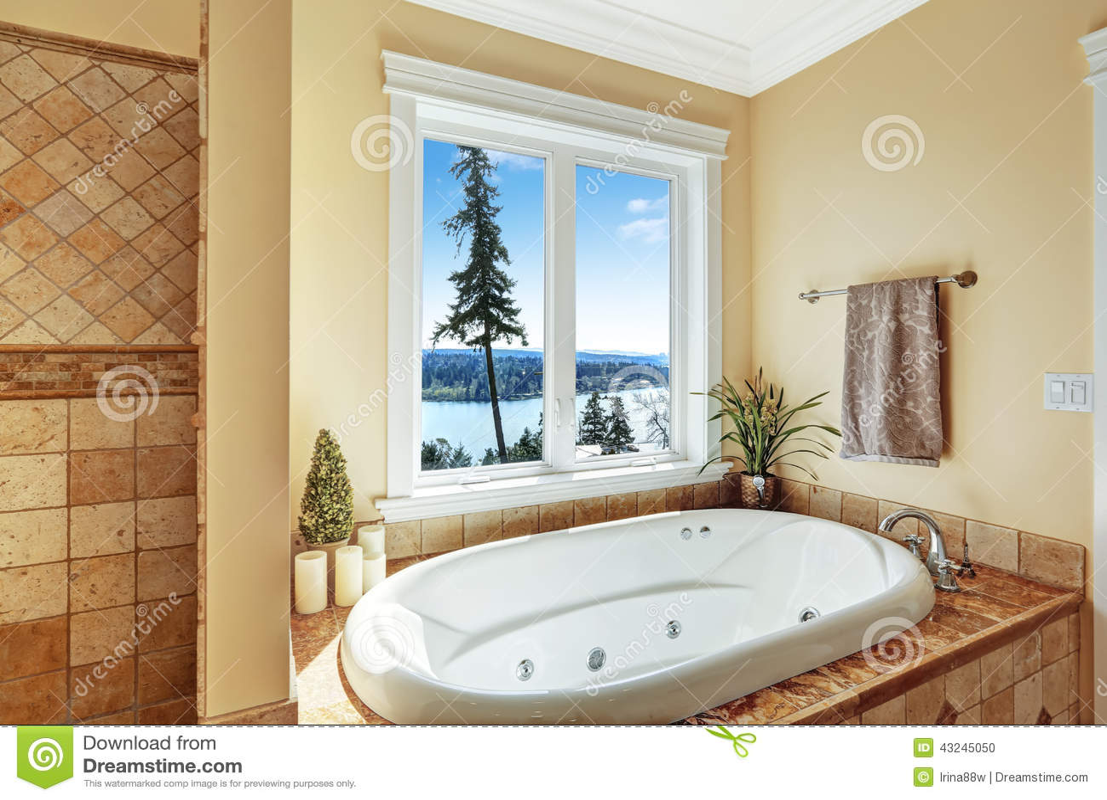 Bathroom With Whirlpool Bath Tub And Beautiful View Stock Photo ...