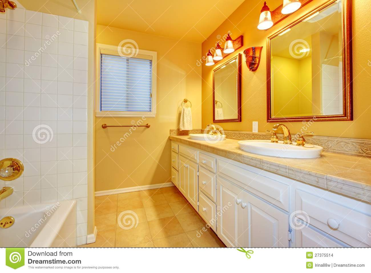 Charmant Bathroom With White Cabinets And Gold Walls. Bathtub, Shower.