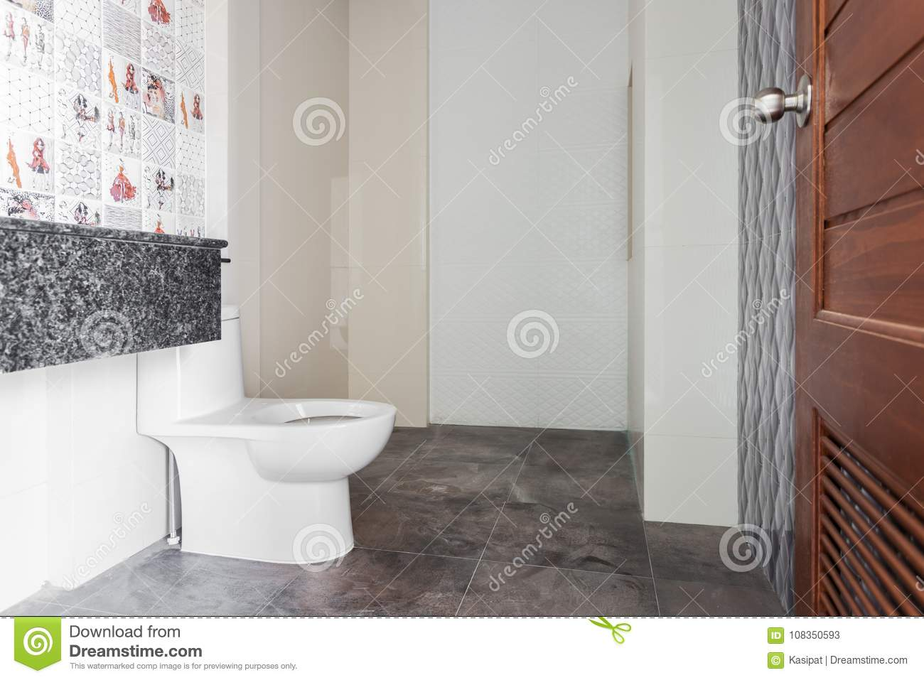 Modern Design Home Bathroom White Sanitary Ware In The Under Construction