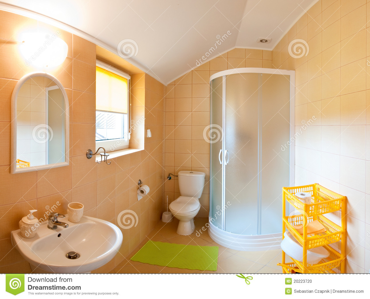 Bathroom wide angle stock photo image of yellow loft for How wide is a bathtub