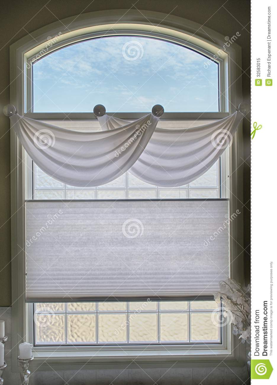 Bathroom Window And Valance Royalty Free Stock Photo