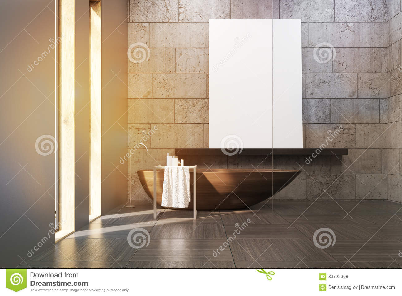 Bathroom With Wooden Tub And Poster Stock Illustration