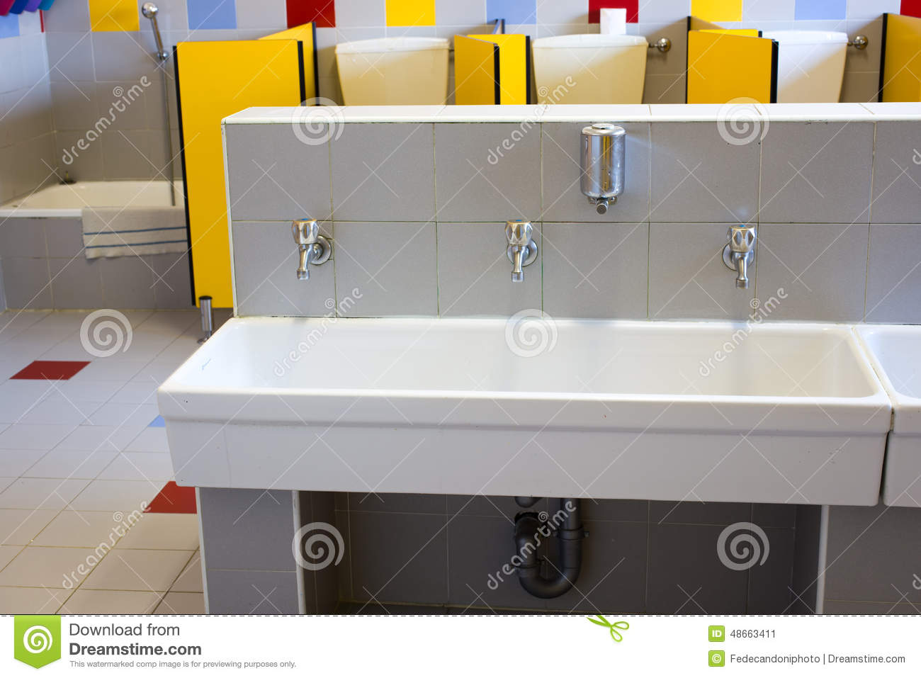 School Bathroom Sinks : Bathrooms Of A School For Children With Low Ceramic Sinks Stock Photo ...