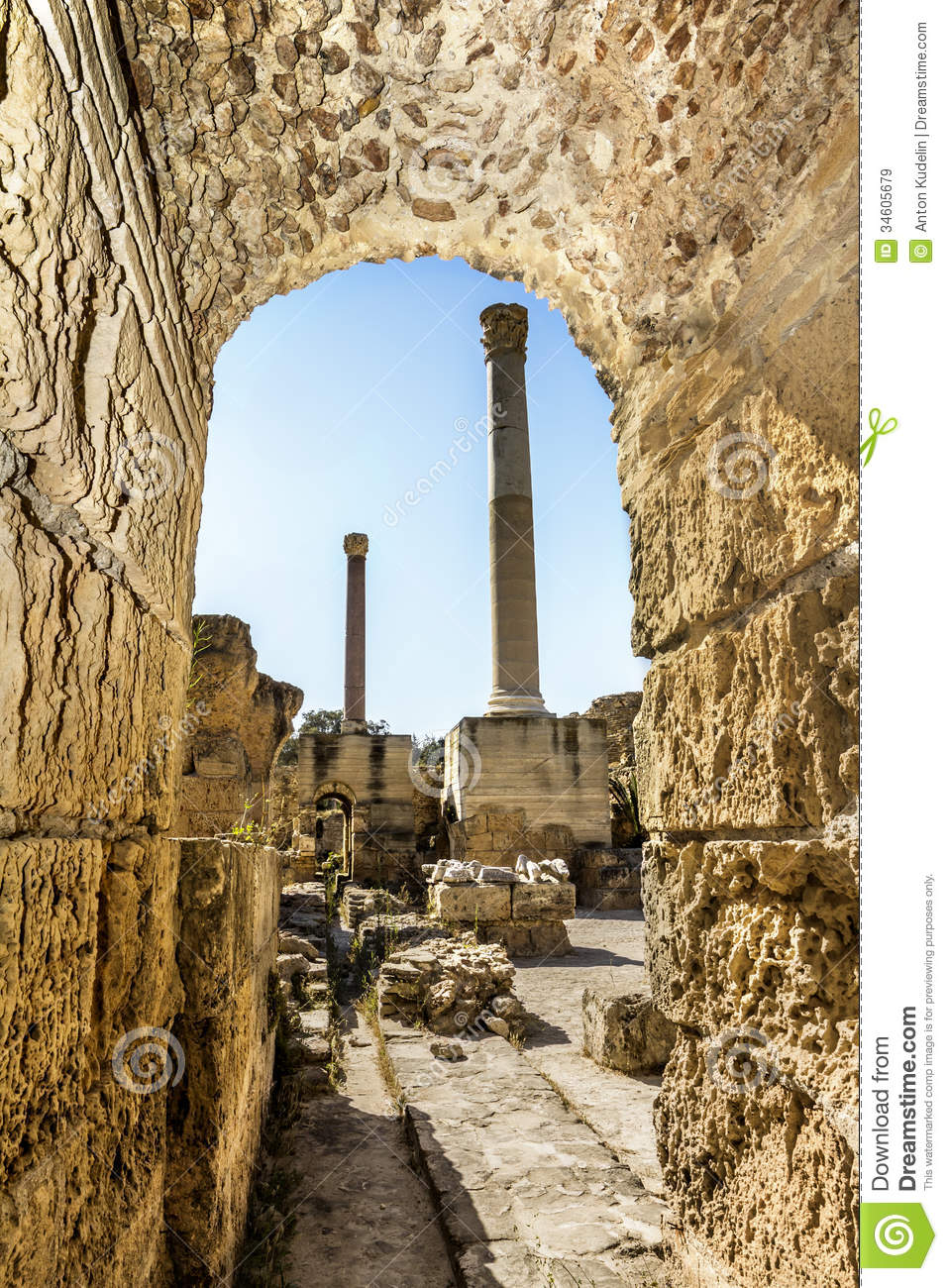 Baths Of Antonius In Carthage Tunisia Royalty Free Stock