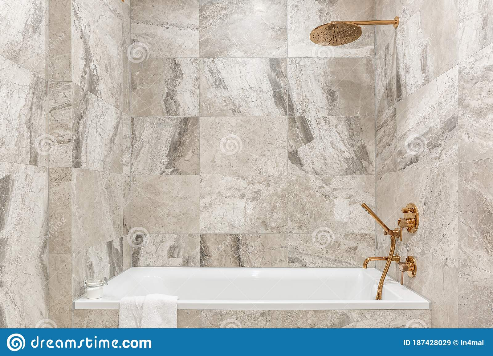Bathtub In Bathroom With Marble Tiles Stock Image Image Of Interior Residential 187428029