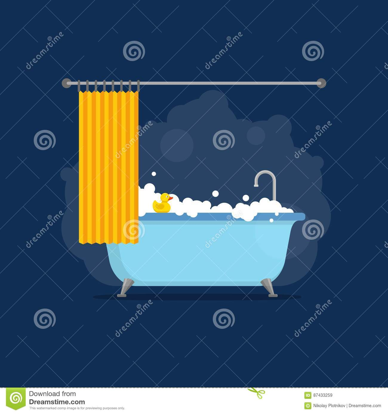 Bathtub With Foam Bubbles Inside And Bath Yellow Rubber Duck And ...
