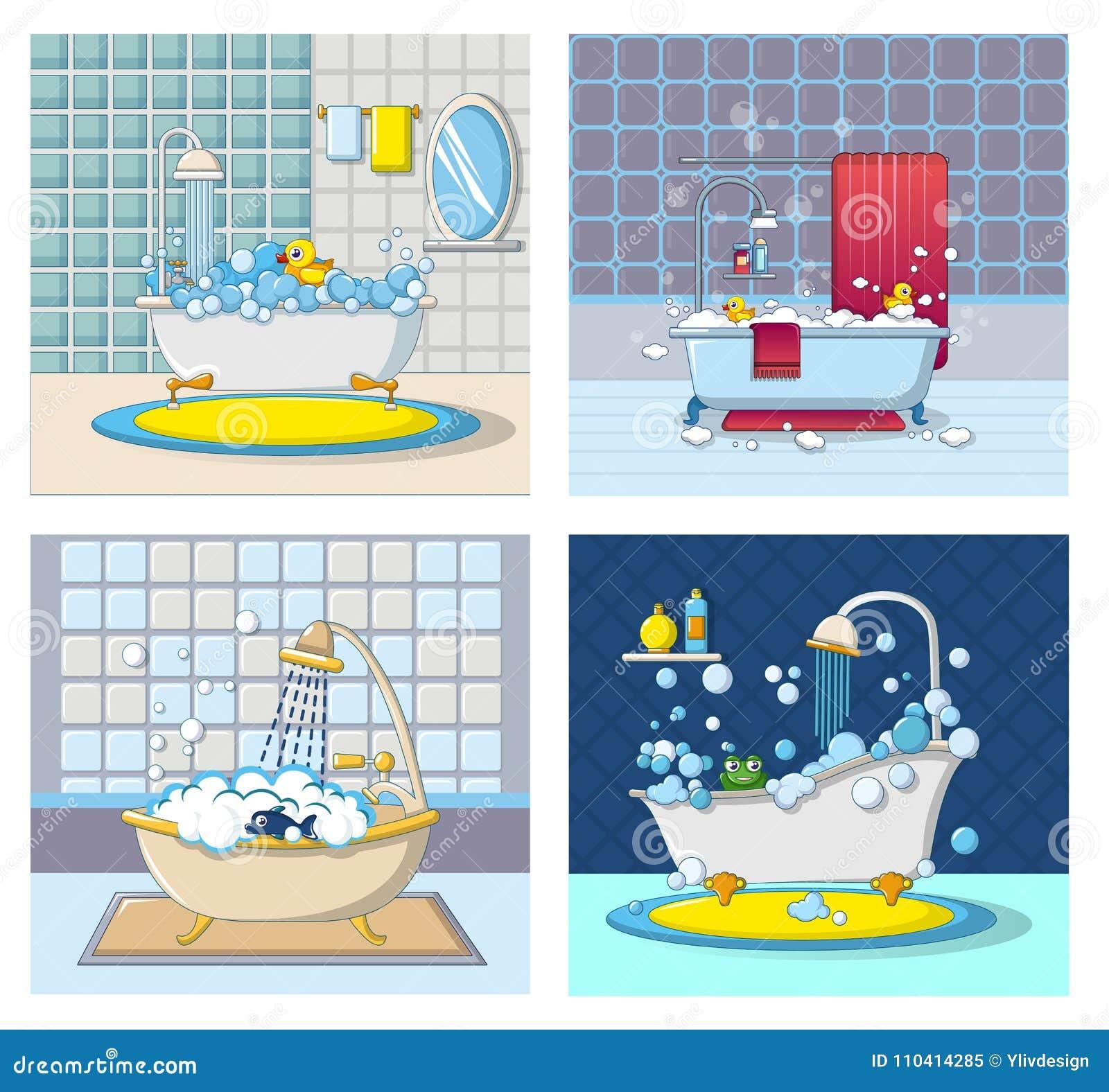 Bathtub Foam Banner Concept Set, Cartoon Style Stock Vector ...