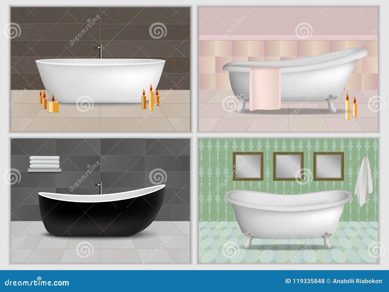 Bathtub Interior Mockup Set, Realistic Style Stock Vector ...