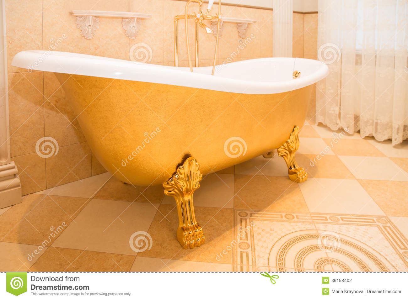 Bathtub stock photo. Image of indoors, decor, gold, bath - 36158402