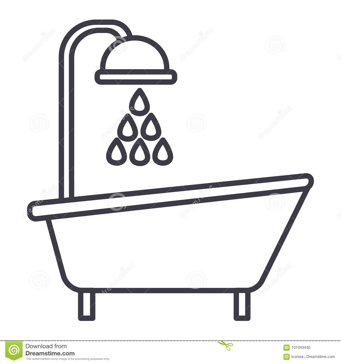 Bathroom Clip Art Black And White: Bathtub Shower Vector Line Icon, Sign, Illustration On