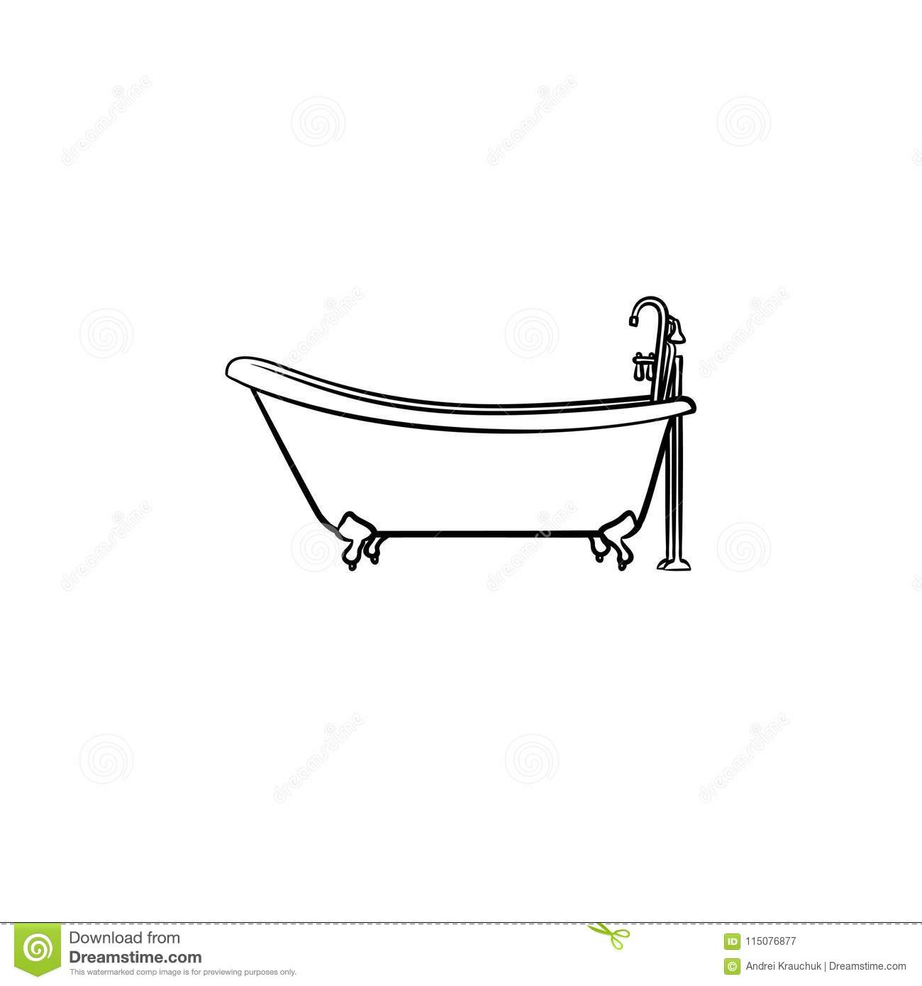 Bathtub With Tap Hand Drawn Sketch Icon Stock Vector Illustration Of Pictogram Hygiene 115076877