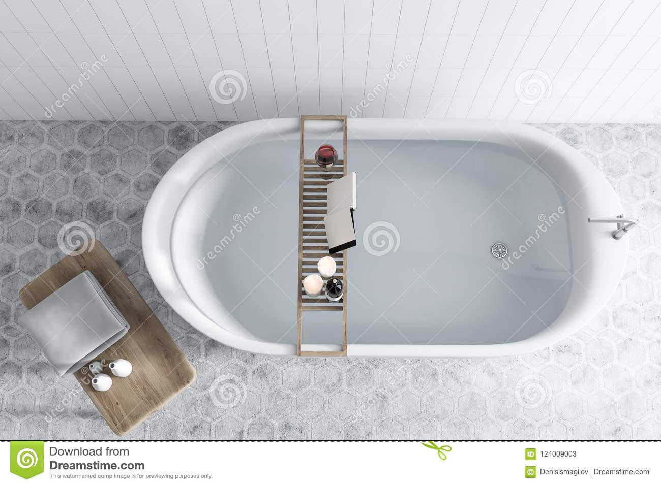 Bathtub With Water Tiled Bathroom, Book Top View Stock Illustration ...