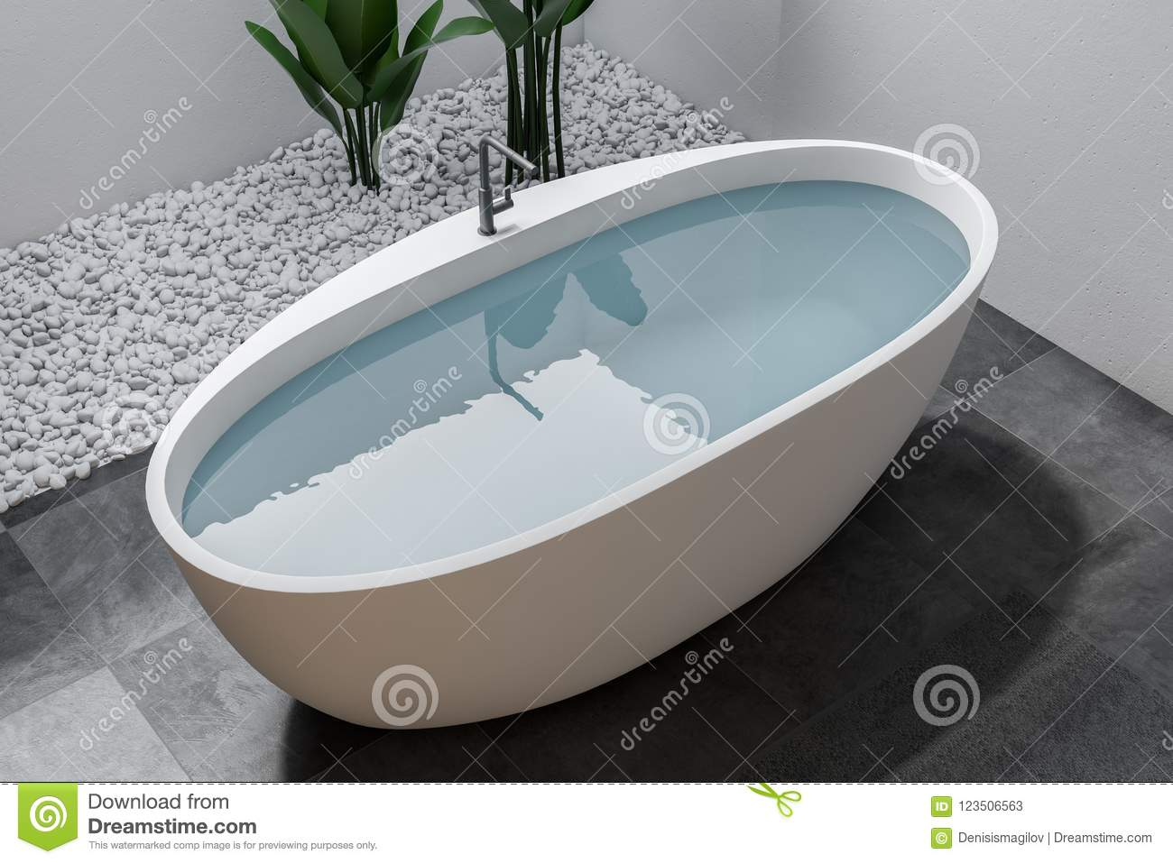 Bathtub With Water In White Bathroom, Top View Stock Illustration ...