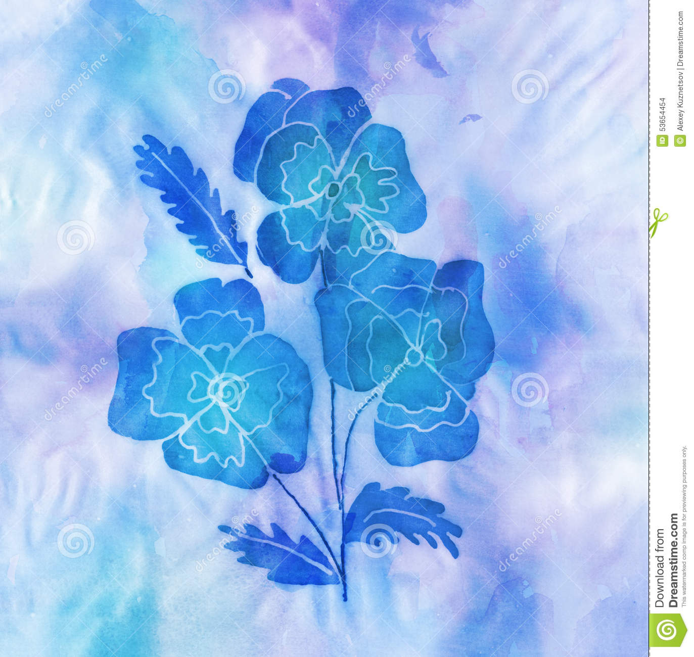 Batic artwork of blue flowers stock illustration image for How are blue roses made