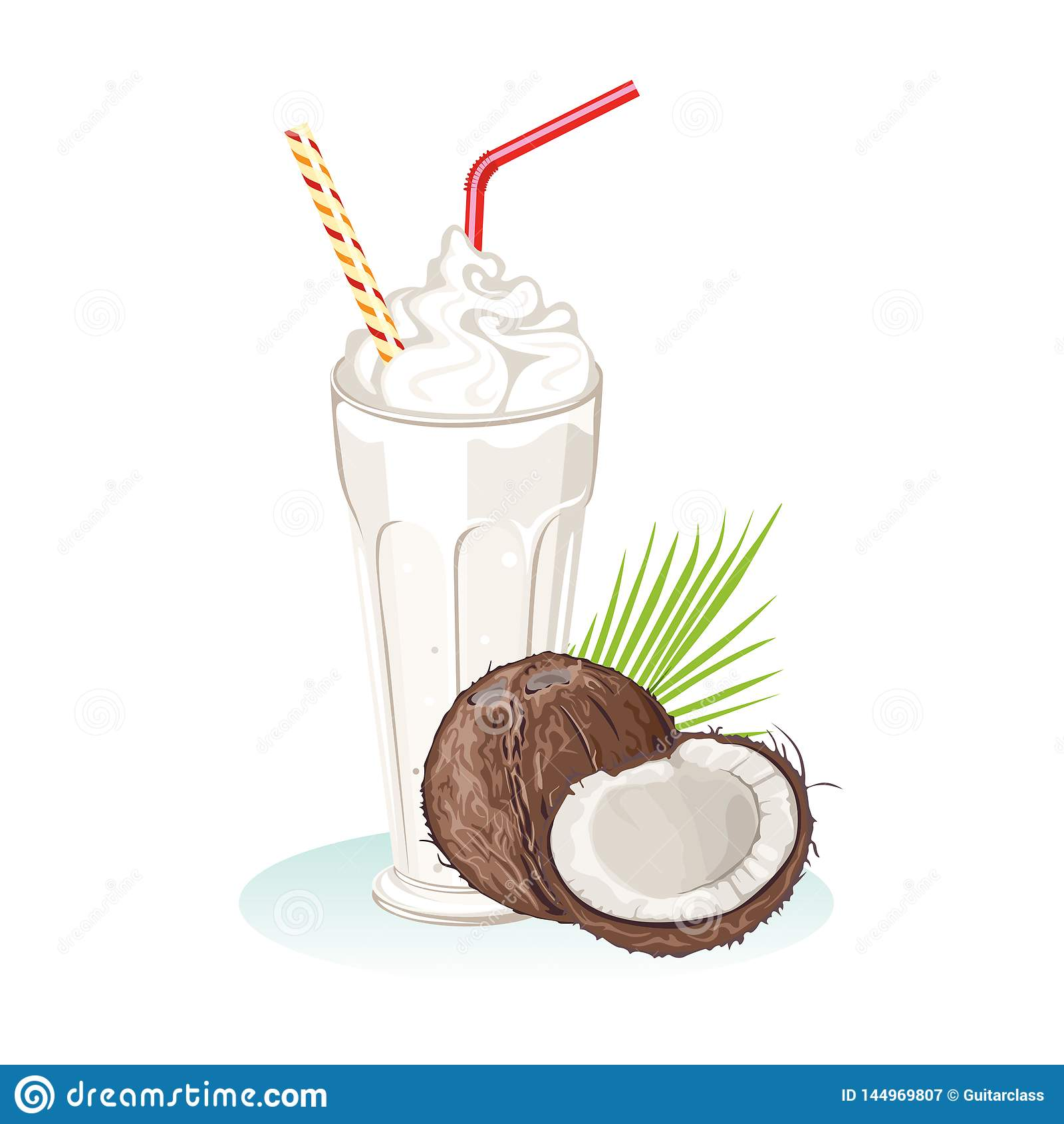 Batido de leche del coco Bebida sana de restauración en vidrio con la paja
