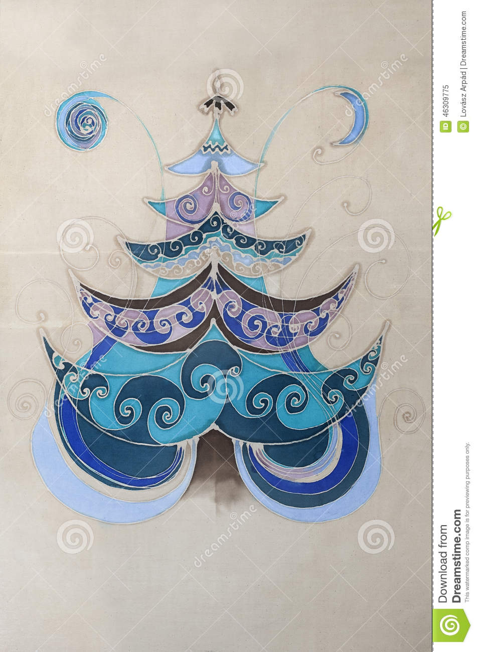 BATIK CHRISTMAS TREE Stock Illustration