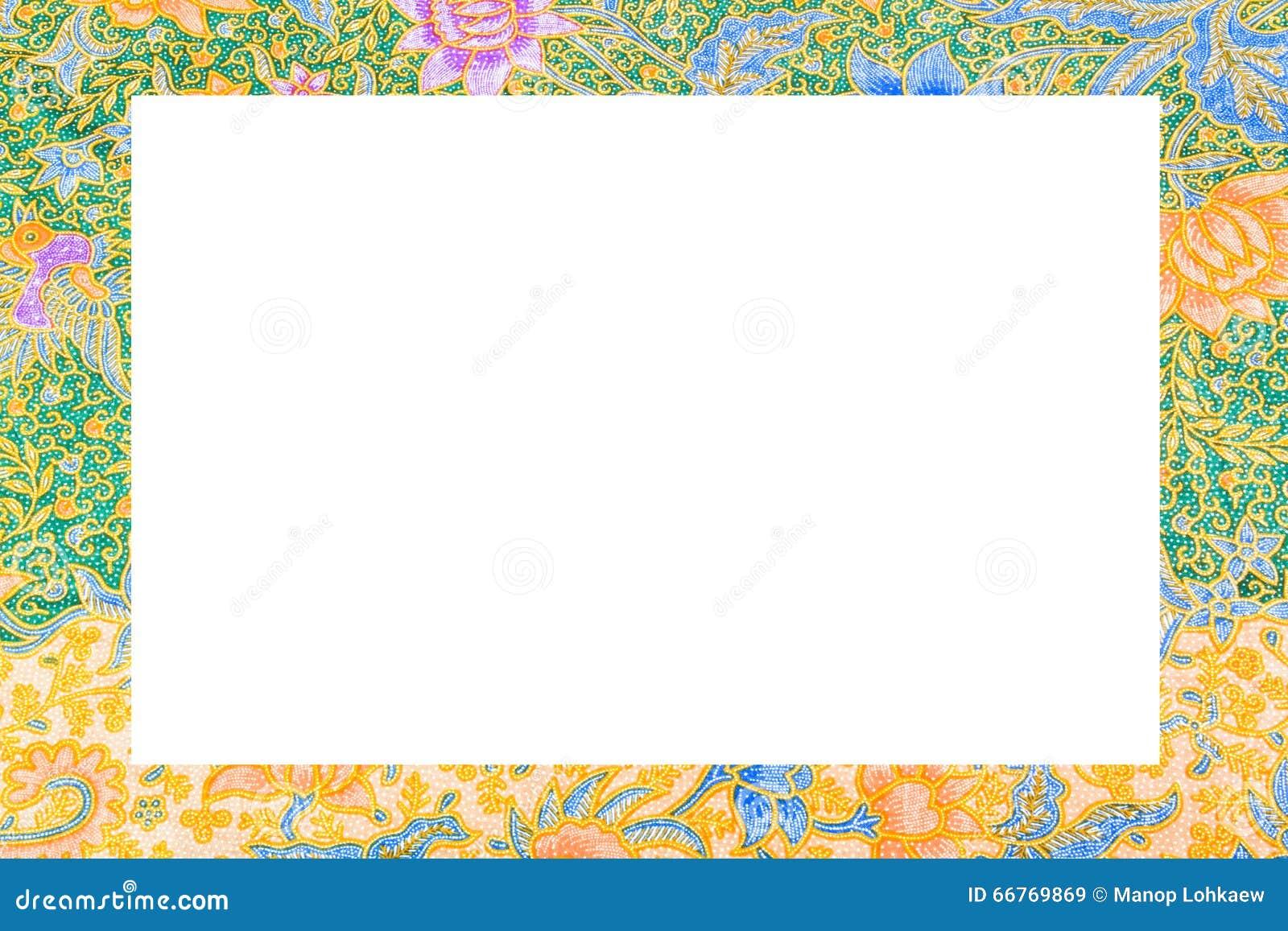 Batik Cloth Frame On White Background Stock Image Image