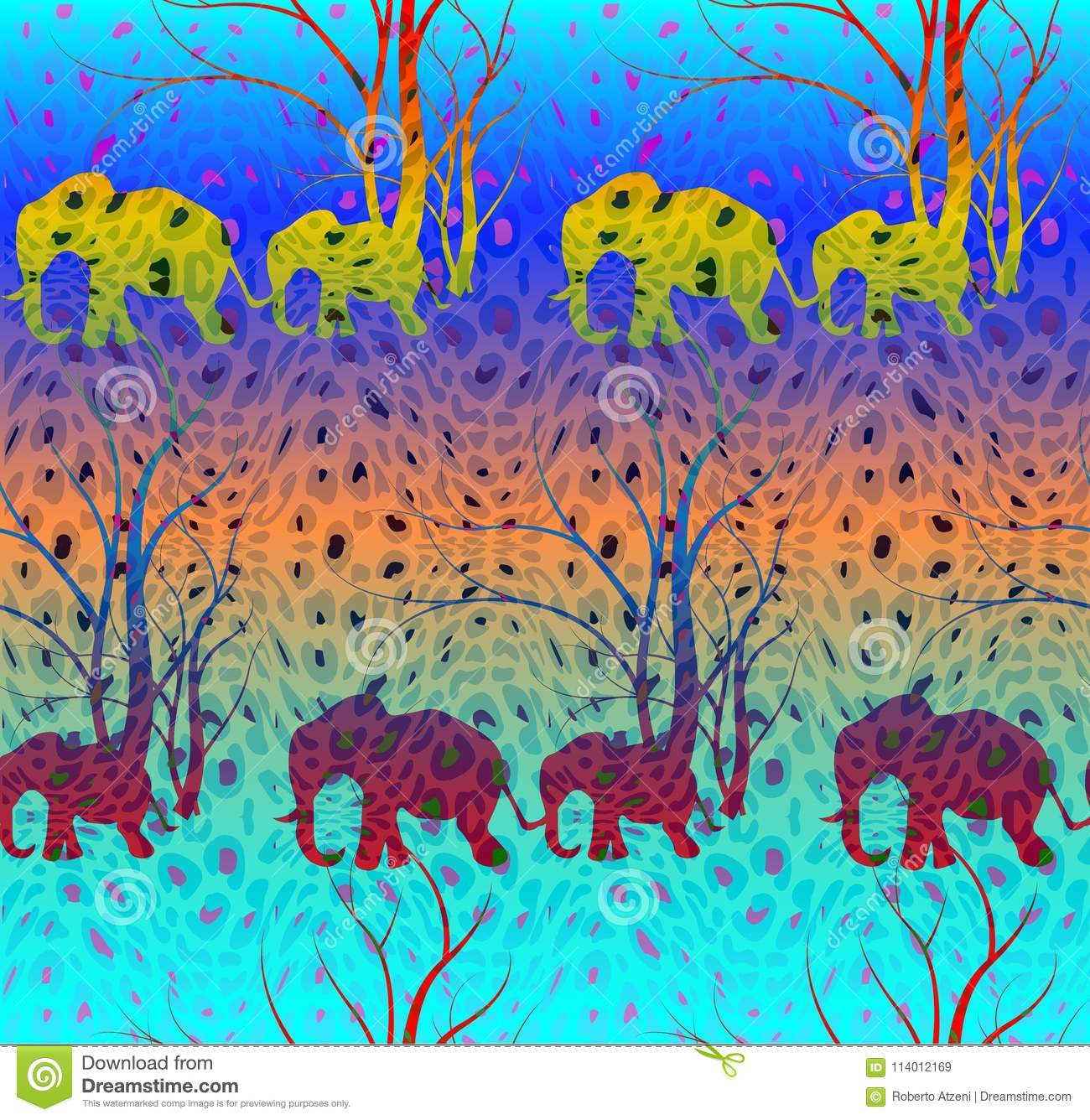 Batik Colorful Pattern With Cute Animal, Elephants. The