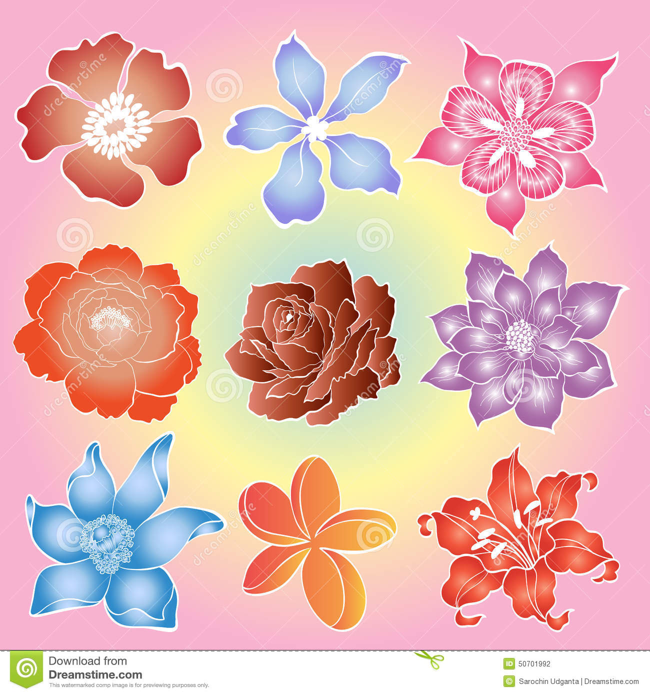 Batik Flowers Stock Vector. Illustration Of Hibiscus
