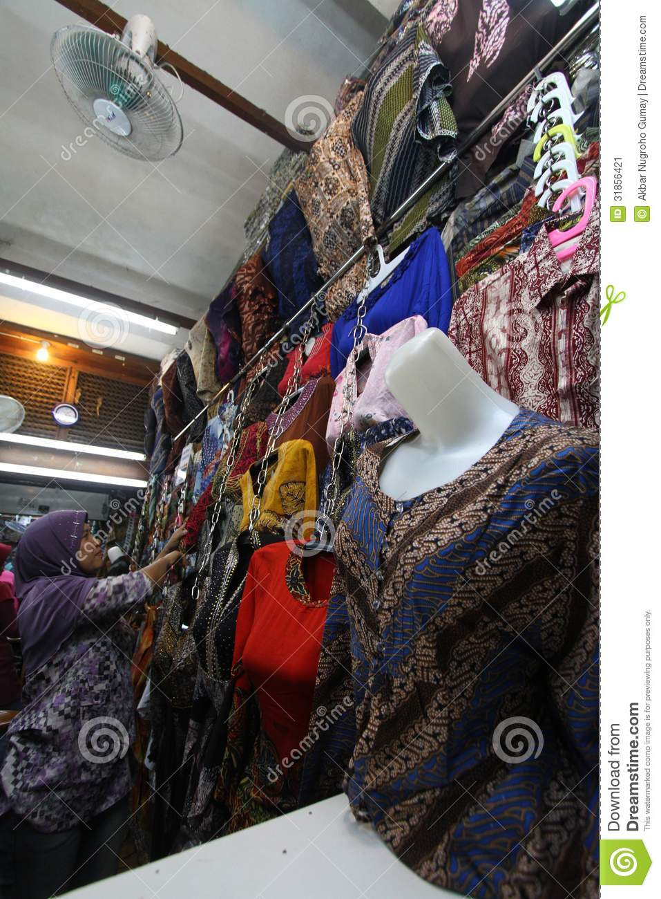 Commodities traders set up in batik market, Solo, central java ...