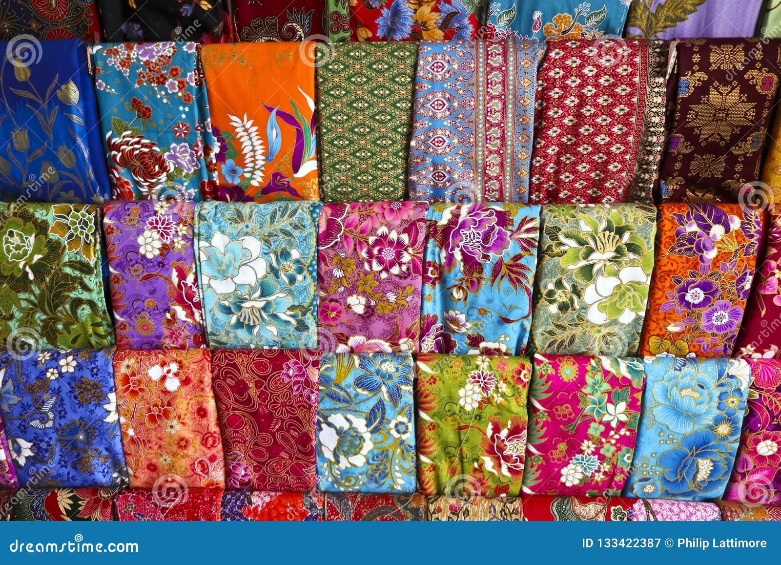 Display of batik fabrics in thailand