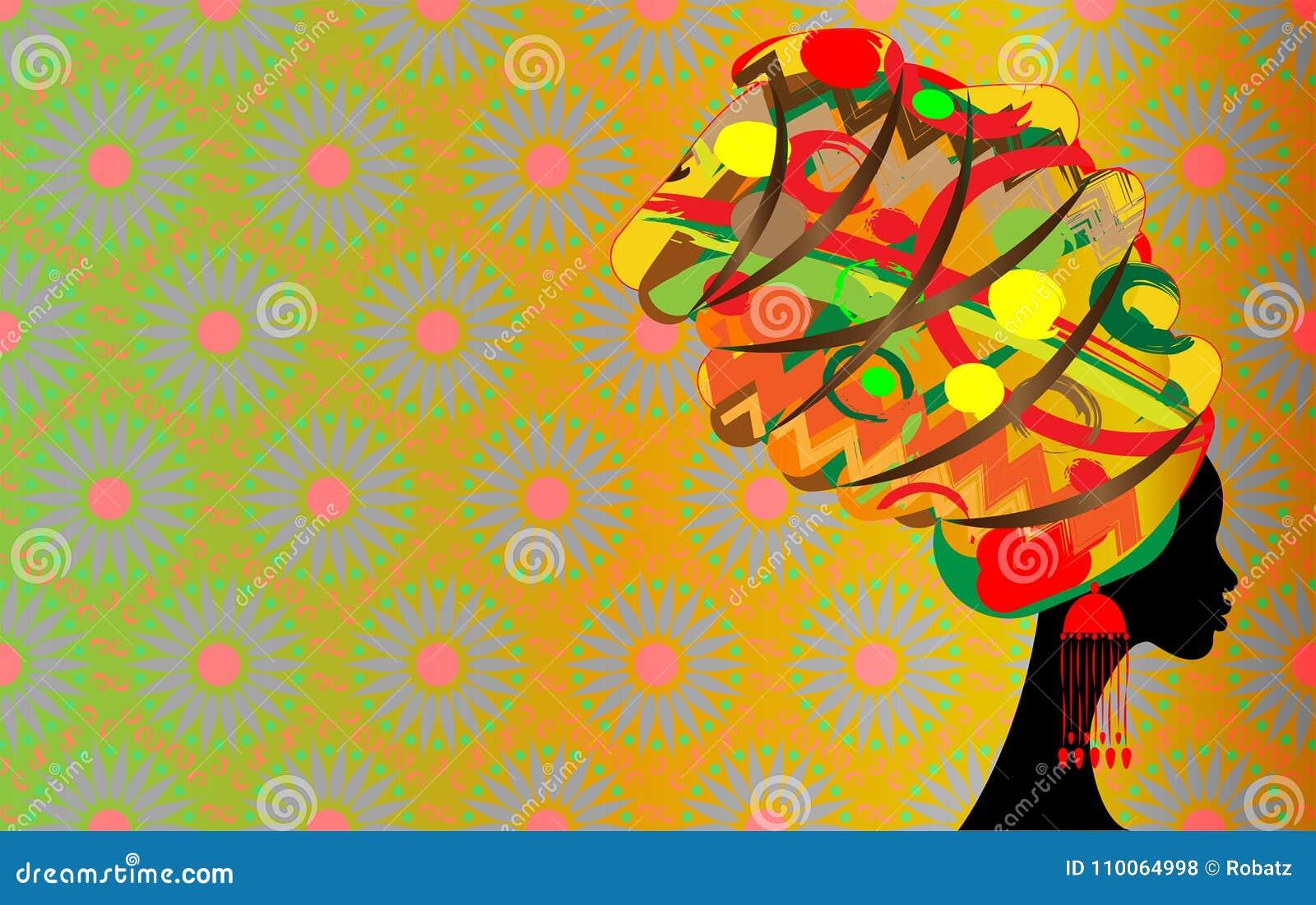 Batik, Porträt-schöne Afrikanerin im traditionellen Turban, Schattenbild der schwarzen Frauen