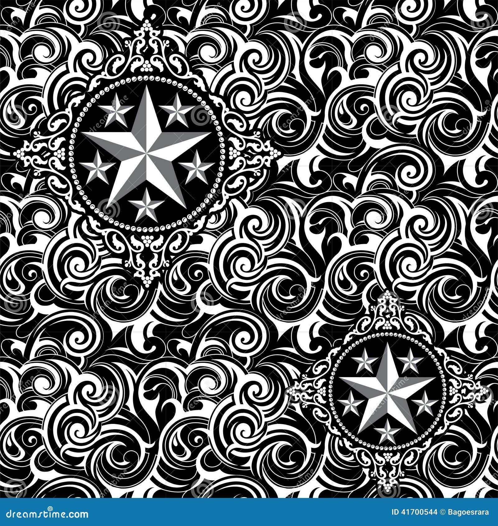 Batik Star Seamless Pattern Stock Illustration
