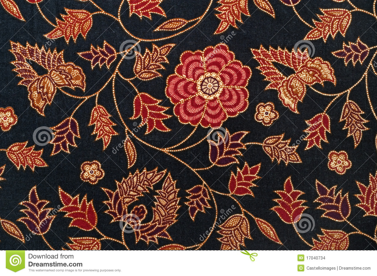 Batik Textile Pattern With Black And Red Stock Images - Image ...