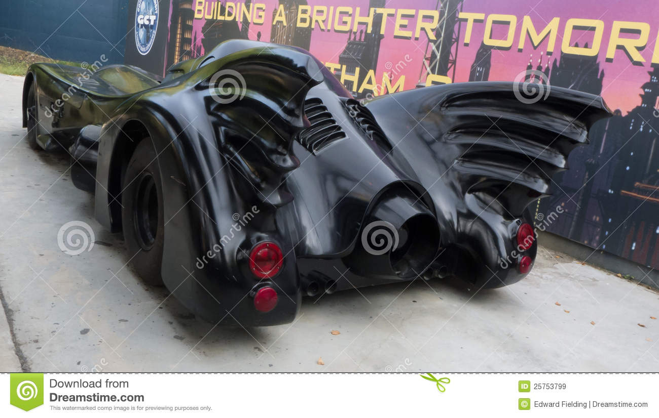 Batmobile - Back View Of Batman\'s Car Editorial Stock Image - Image ...
