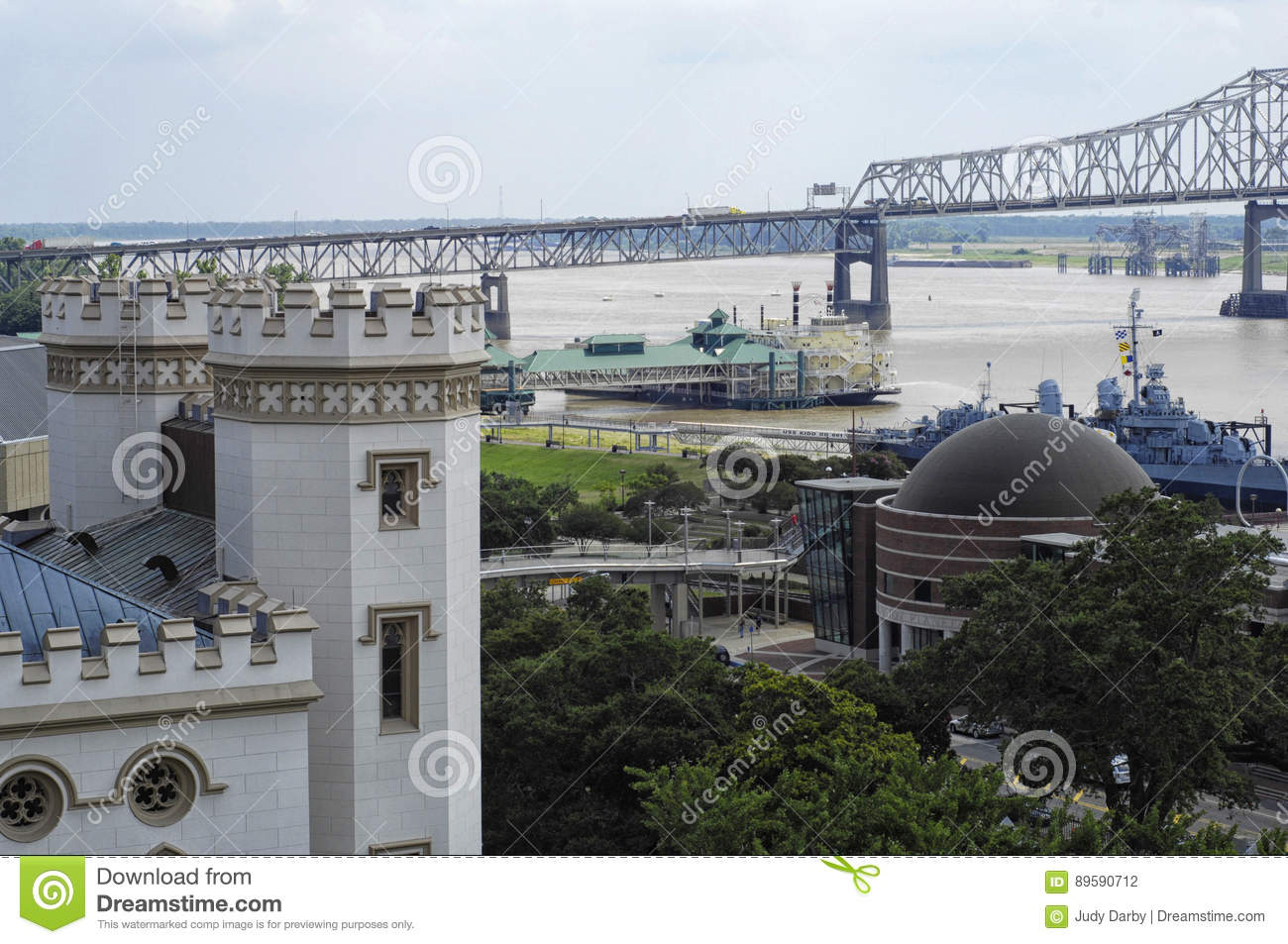 Baton Rouge, LA waterfront with Old State Capitol
