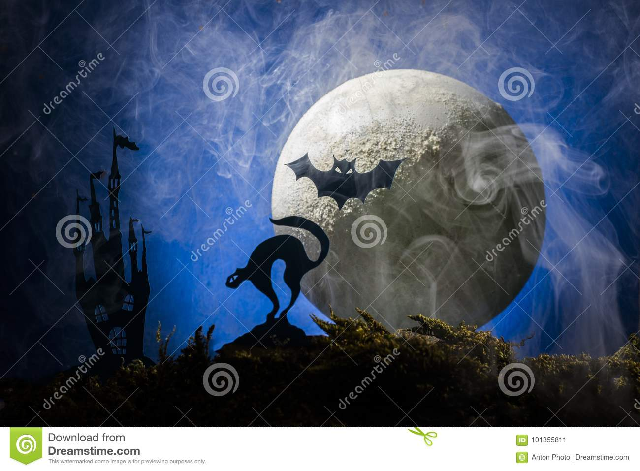 bats against the background of the moon halloween stock image