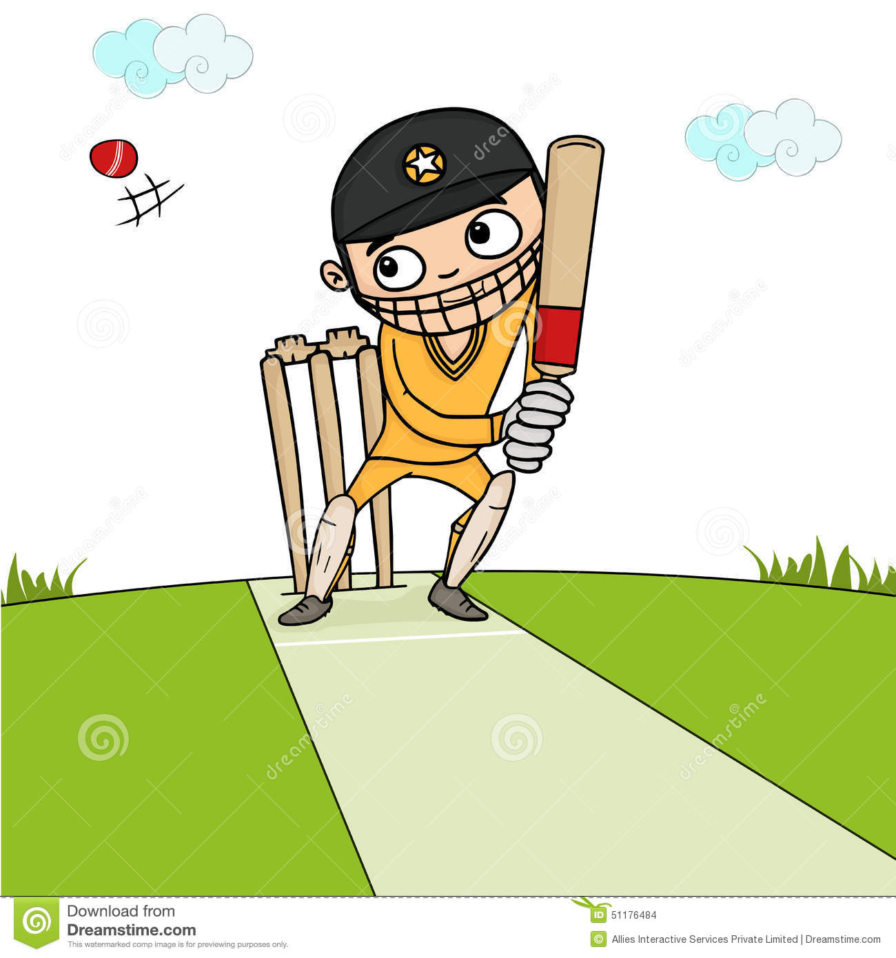 Batsman With Bat And Ball For Cricket Concept Stock