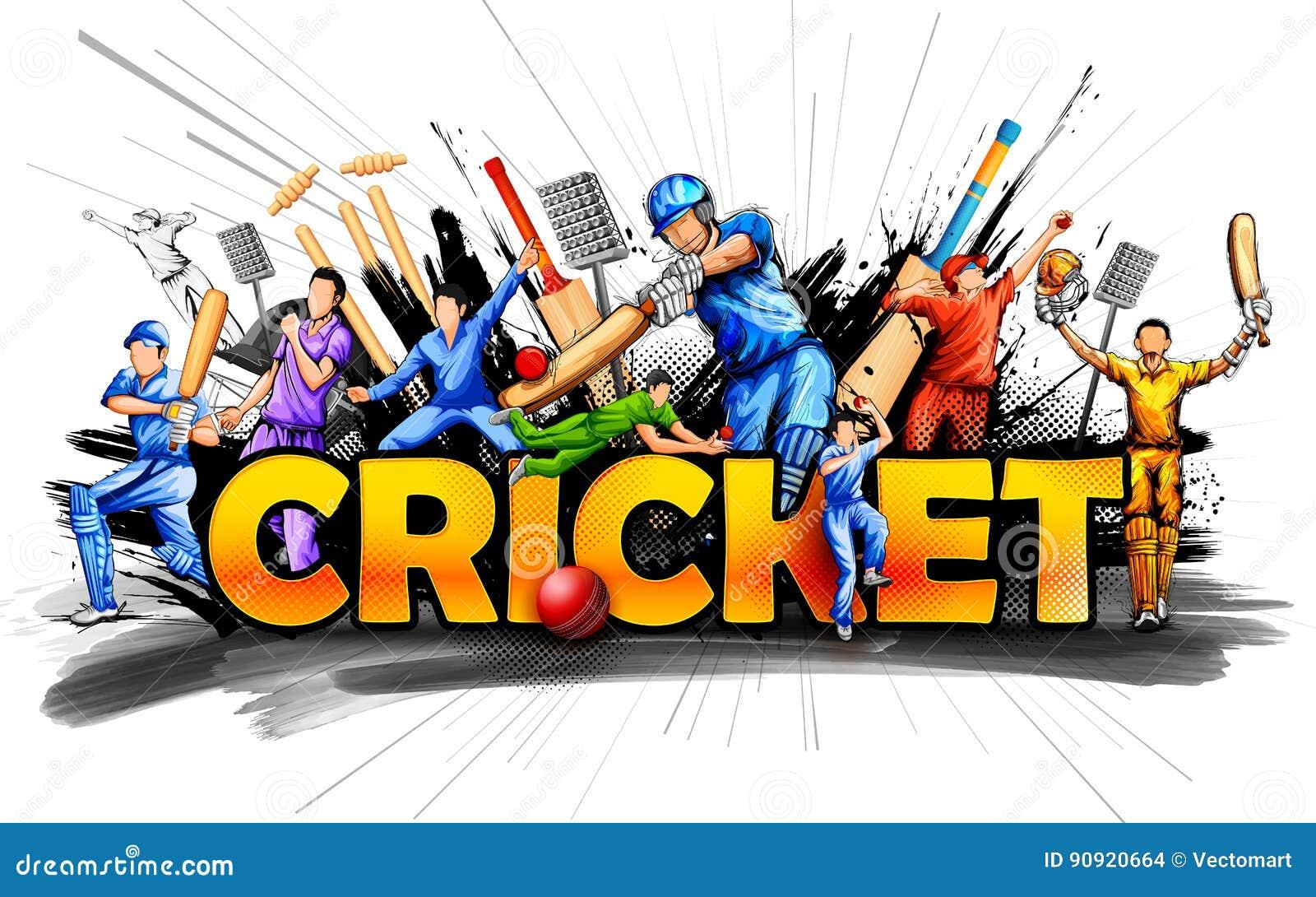 Cricket Vector Background Stock Image: Batsman And Bowler Playing Cricket Championship Sports