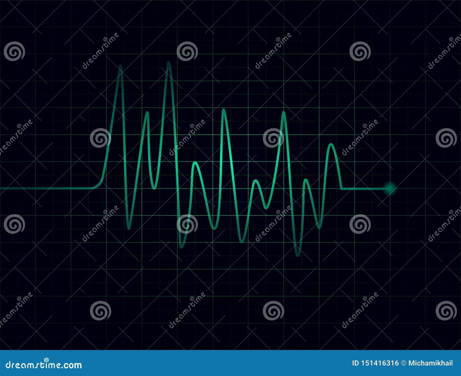 Battements de coeur verts abstraits sur le fond foncé