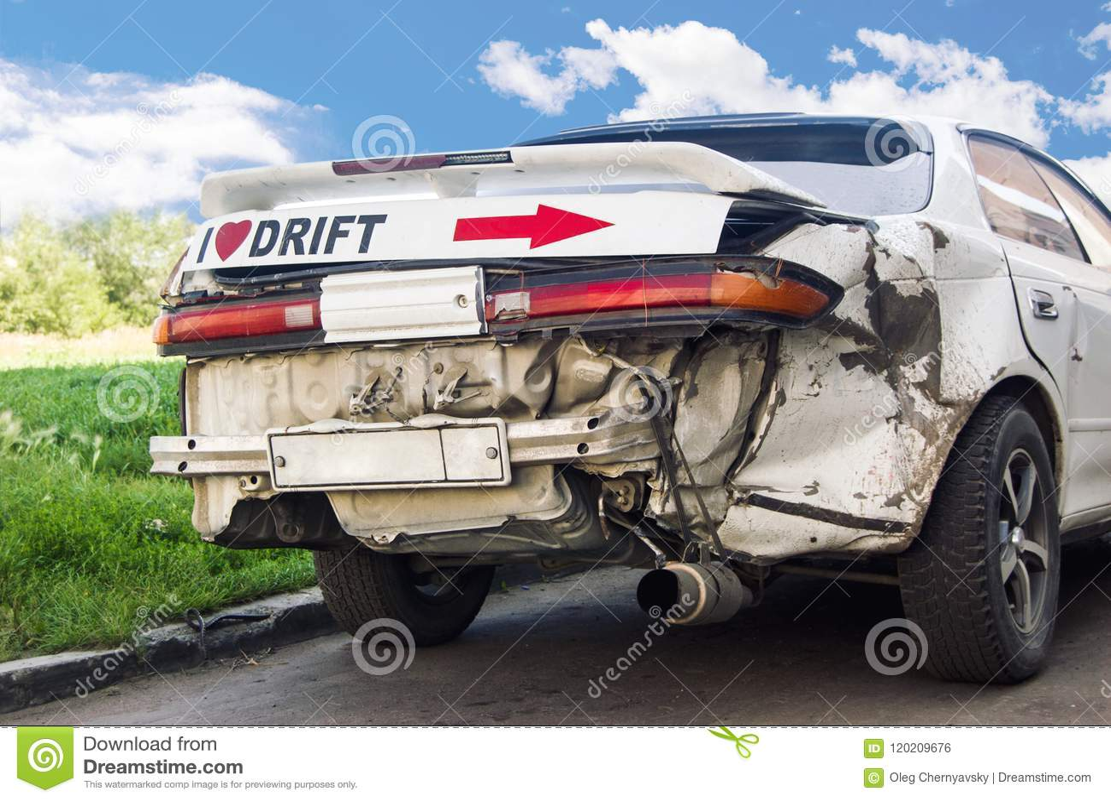 Battered drift car