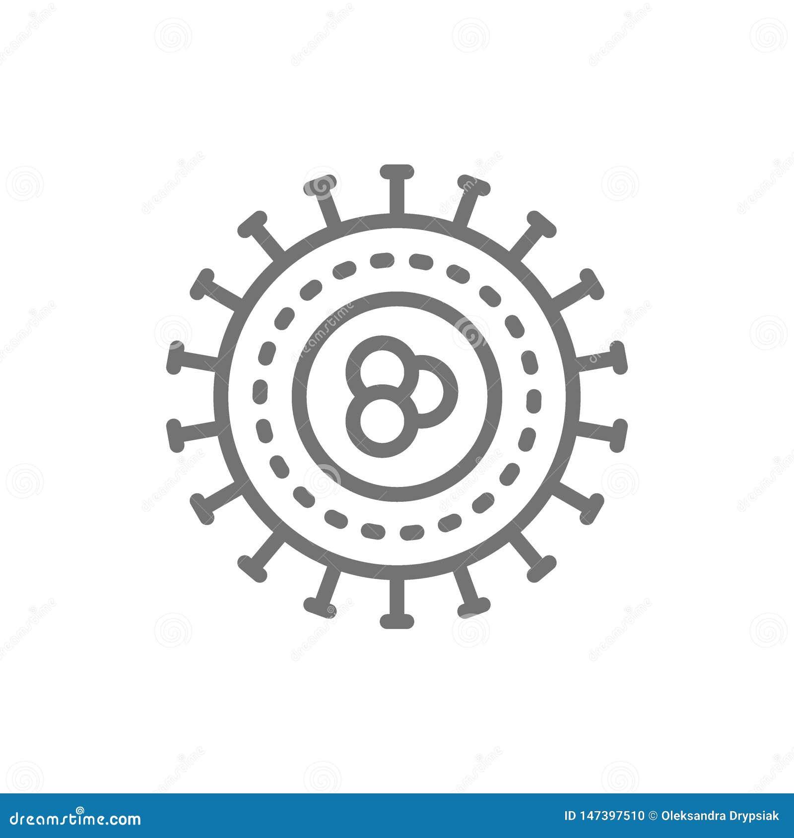 Batteri, virus, microbi, linea unicellulare icona