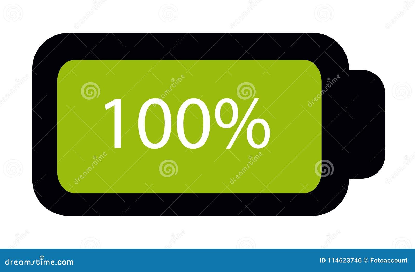 Batterie-Status voll 100  - Editable Vektor-Ikone - lokalisiert auf Weiß