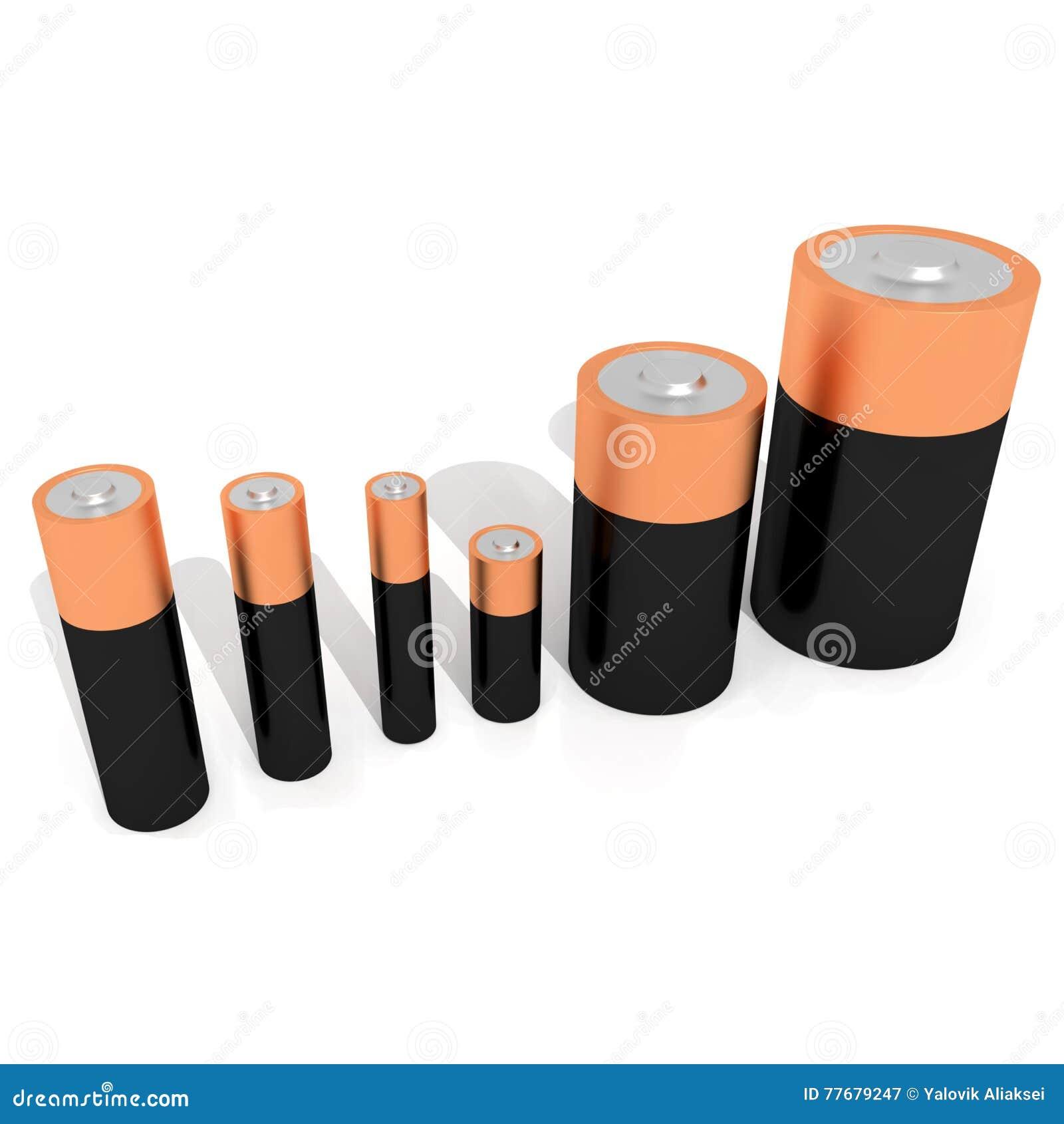 Batteries 3d renderer illustration