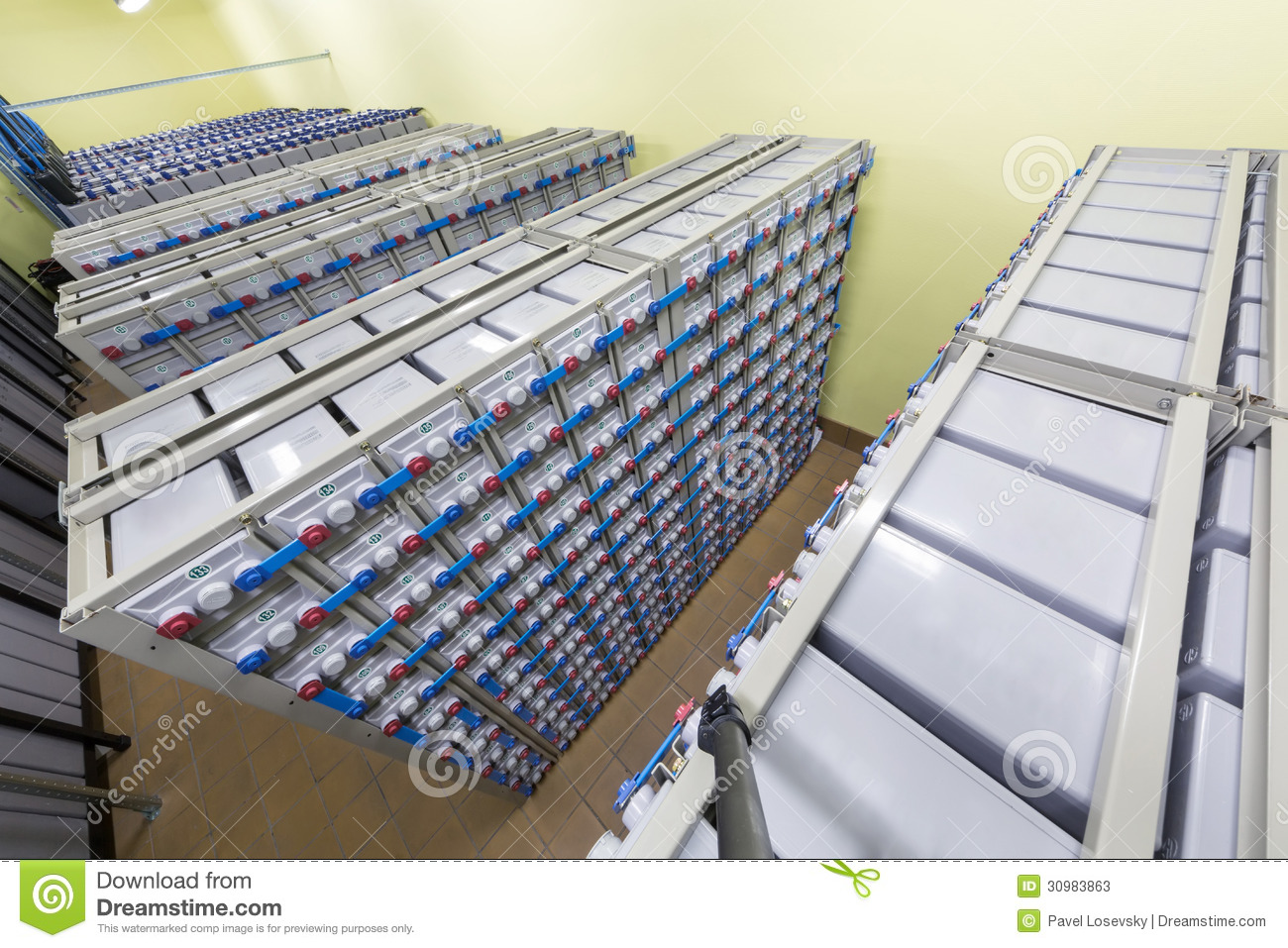 Batteries in industrial backup power system.