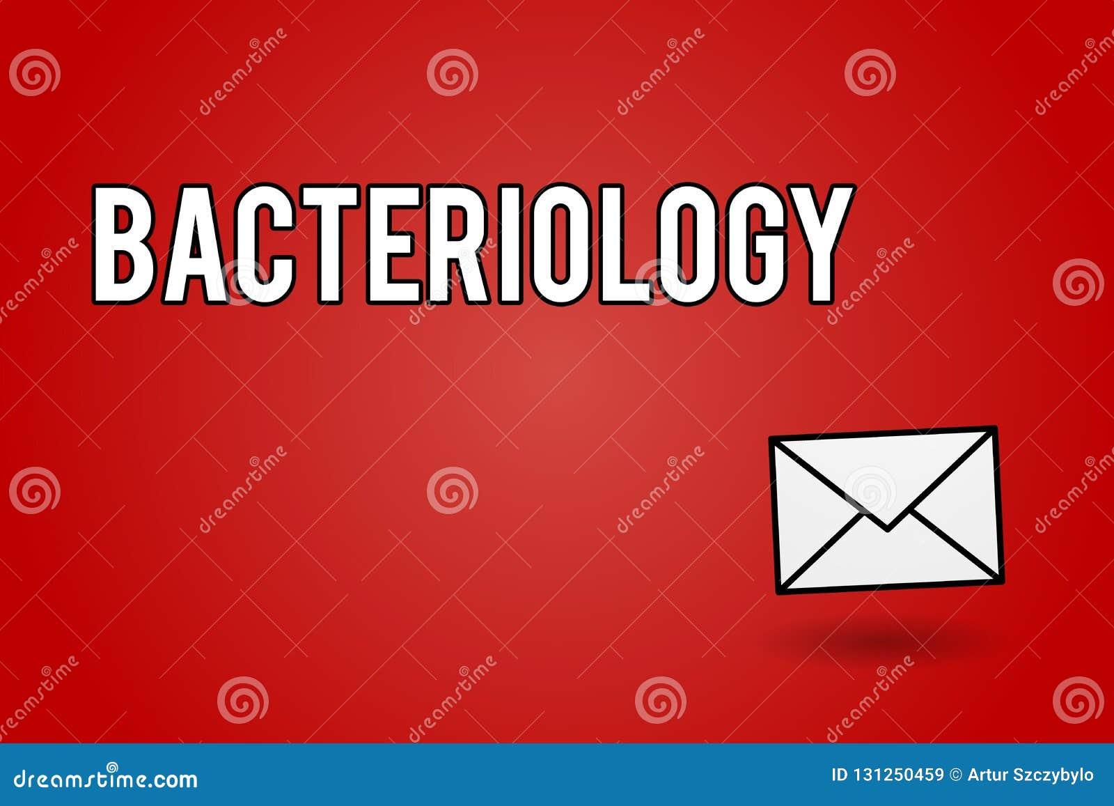 Batteriologia del testo della scrittura Ramo di significato di concetto di microbiologia che si occupa dei batteri e dei loro usi