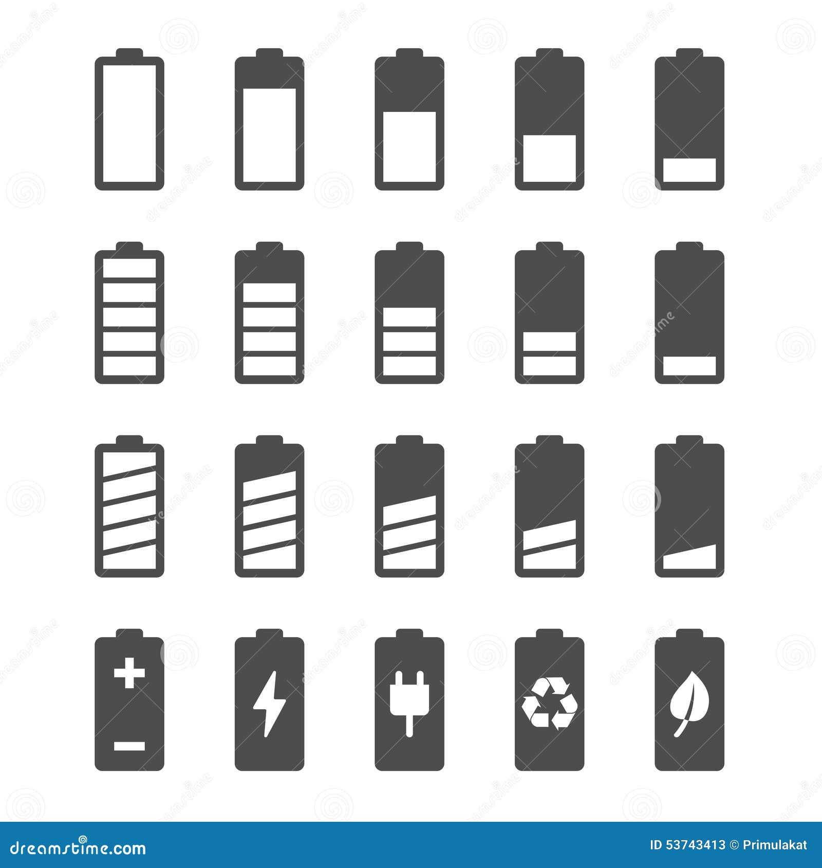 Batterisymbolsuppsättning med jämna indikatorer för laddning