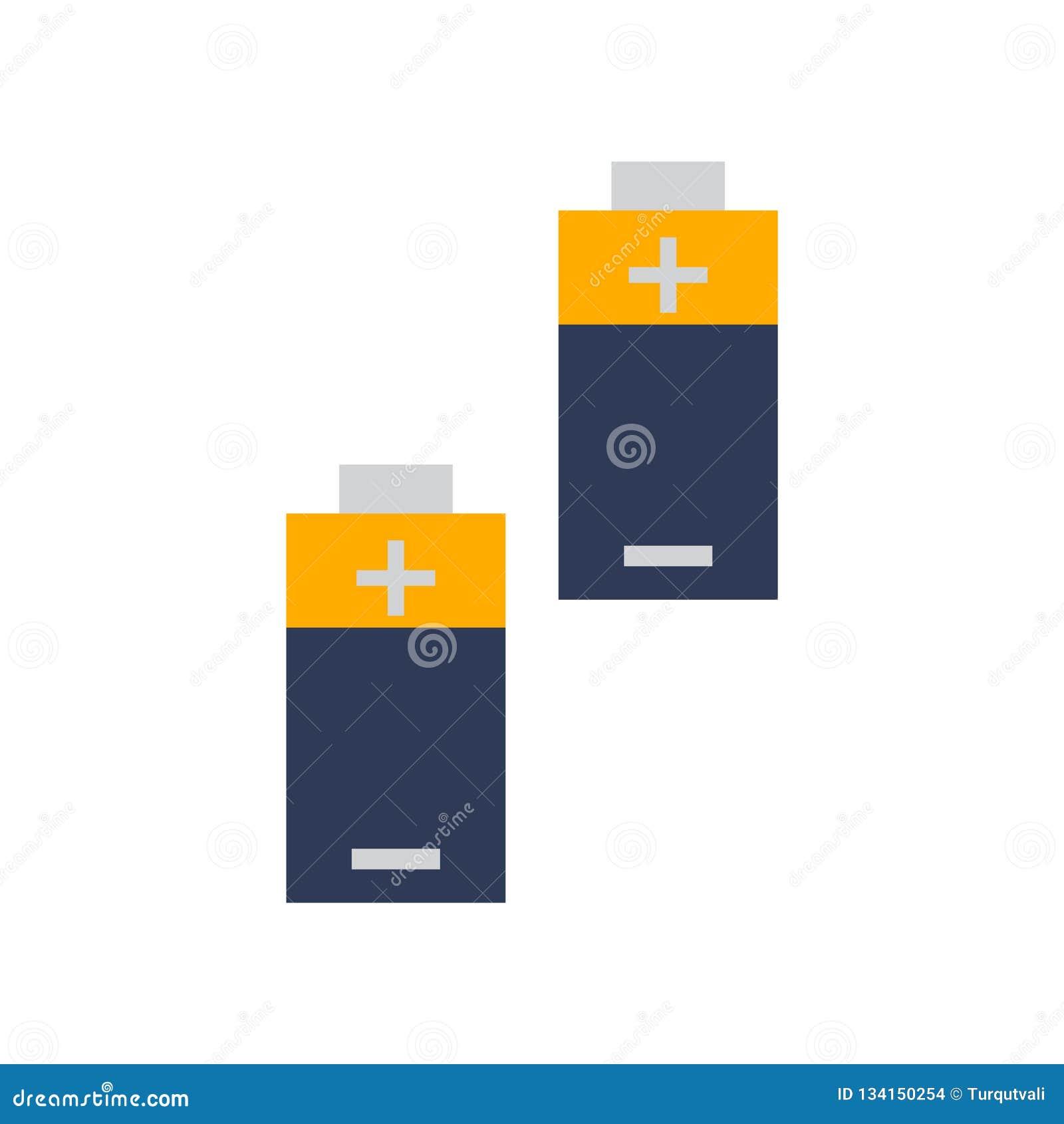 Batterisymbolsvektorn som isoleras på vit bakgrund, batterier undertecknar, färgrika utrustningsymboler