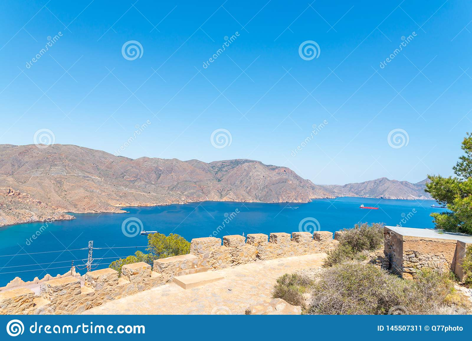 BATTERY CASTILLITOS, SPAIN - APRIL 13, 2019 Abandoned military constructions located in the hills near the bay of Cartagena