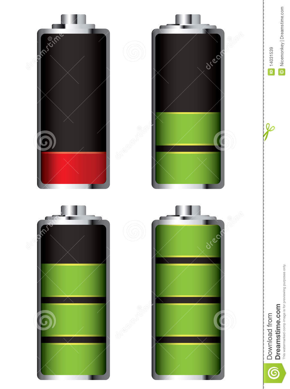 Battery Charge Full And Empty Royalty Free Stock Images