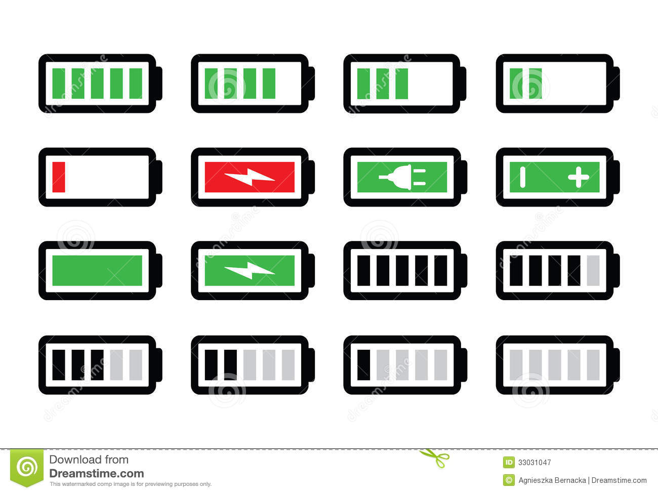 battery charge icons set stock illustration image of load 33031047. Black Bedroom Furniture Sets. Home Design Ideas